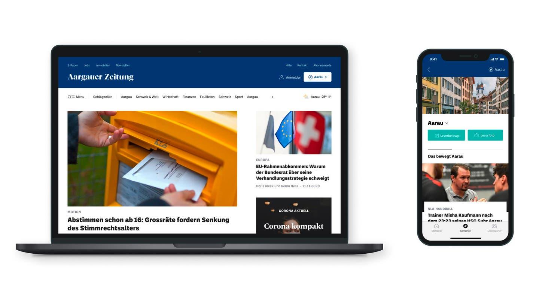 Die AZ im neuen Design, Desktop und Mobile. (Aargauer Zeitung)