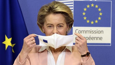 Pocht darauf, dass die EU ihren Impfstoff kriegt: Kommissionspräsidentin Ursula von der Leyen. (Keystone)