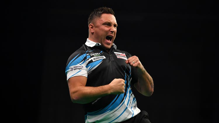 Der «Iceman» Gerwyn Price aus Wales jubelt nach seinem Triumph in London. (Getty)