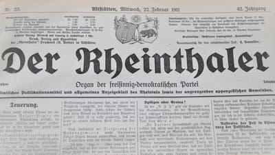 Im Titelkopf der Zeitung «Der Rheinthaler» war früher angegeben, wessen Organ das Blatt war, nämlich jenes der freisinnig-demokratischen Partei. (Bild: Gert Bruderer)