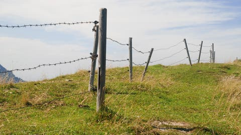 Stacheldraht am Abhang einer Alp: Solche Ausnahmen an gefährlichen Absturstellen wären im Gegenvorschlag der Regierung noch erlaubt. (Wakila / iStockphoto)