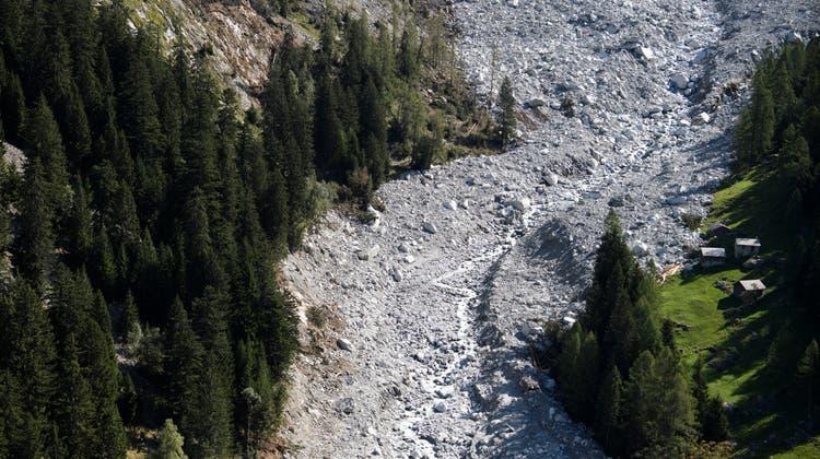 Val Bondasca nach dem Bergsturz: Die Gemeinde hatte schon eine Woche vorher gewarnt. (Keystone)