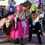 Vier Fasnächtler feiern in Würenlingen. (Bild: zvg)