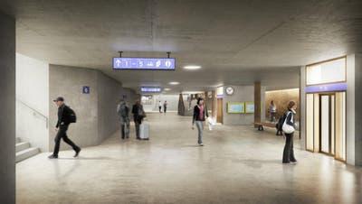 So soll die Hauptunterführungdereinst aussehen. Rechts im Bild ist der umgebaute Posttunnelzu erahnen, der neu die Querung für Velofahrer ermöglichen soll. (Visualisierung: PD)