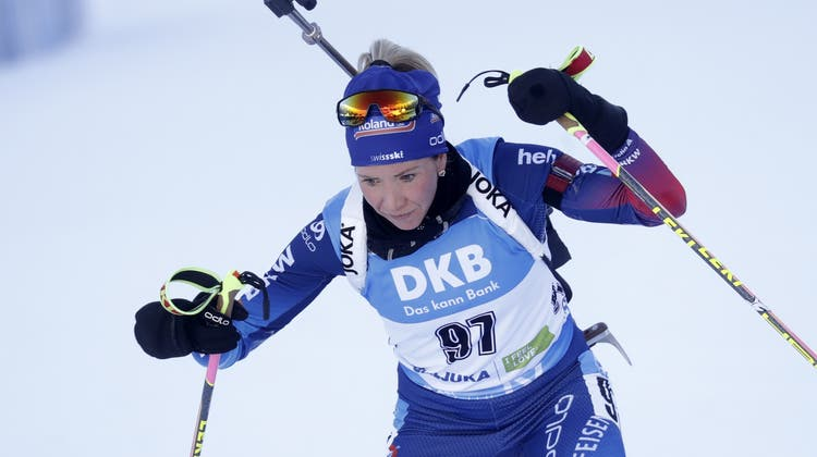 Selina Gasparin erreichte an der Biathlon-WM in Slowenien über 15 km als beste Schweizerin den 6. Rang. (EPA)