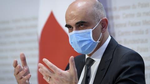 Gesundheitsminister Alain Berset präsentierte am Mittwoch die mögliche Lockerungsschritte ab März. (Keystone)