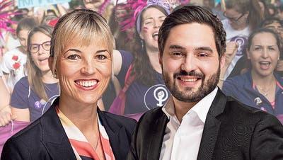 Die Nationalräte Diana Gutjahr (SVP/TG) und der Aargauer Cédric Wermuth (SP/AG) kreuzen die Klingen. (Benjamin Manser)