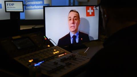 Die Delegiertenversammlung der FDP vom Samstag fand per Videokonferenz statt. (Keystone)