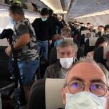 Abstand? Welcher Abstand? Dieses Bild zeigt eindrücklich, wie voll die Swiss ihre Flugzeuge packt