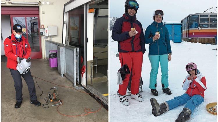Vernebelte Gondeln und Hotdogs: So war der Sonntag im Skigebiet unter Corona-Bedingungen