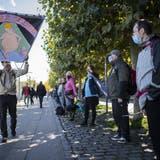 Marsch der Corona-Skeptiker: Rund 1000 «Querdenker» fassensich für die «Friedenskette» an den Händen