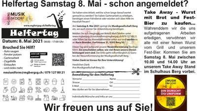 MG Berg-Neuiuniform-Helfertag mit Take-away am kommenden Samstag, 8. Mai, beim Schulhaus Brühl in Berg SG