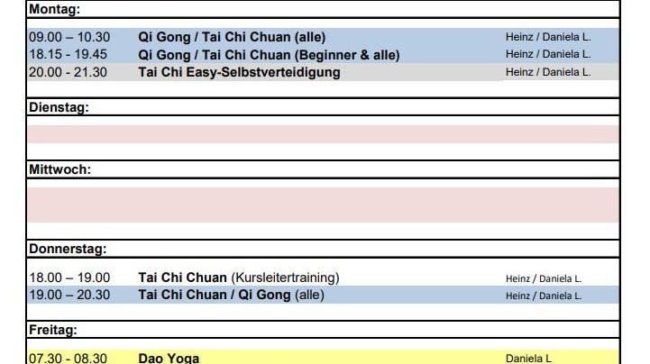 Tai Chi & Qi Gong – Gesundheit, Entspannung & Sport