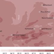 Temperatur-Zonen in St.Gallen und Umgebung um 16 Uhr. (Grafiken: Stefan Bogner)