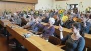 Mit Sonnenblumen in den Ständratswahlkampf: Mitgliederversammlung der Grünen des Kantons am Dienstagabend im Stadtparlamentssaal im St.Galler Waaghaus. (Bild: PD)