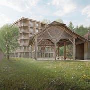 Das sechsstöckige Haus im Garten des Klosters Wesemlin soll Platz für 30 Wohnungen bieten. (Visualisierung: Marques Architekten)