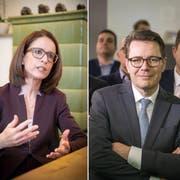 Susanne Vincenz-Stauffacher (links) und Mike Egger (rechts) haben die Hoffnung, Benedikt Würth (Mitte) noch einzuholen, nicht aufgegeben. (Bilder: Ralph Ribi, Michel Canonica)