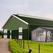 Mit dem Orbiter-System kann die Milch von der Kuh abgesaugt und danach verkaufsfertig vorbereitet werden. (Visualisierung: Lely International)