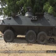 Die Terrororganisation präsentierte das Bild des Radpanzer des Typs Piranha I 6x6, hergestellt vom Kreuzlinger Rüstungskonzern Mowag. (Bild: Twitter / Christiaan Triebert)
