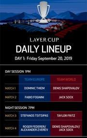 Der Spielplan für den ersten Tag beim Laver Cup in Genf (Bild: Twitter Laver Cup).