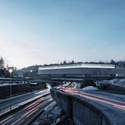 Die geplante Olma-Halle 1: 150 Meter lang, 62 Meter breit, 14 Meter hoch. Visualisierung: Ilg Santer Architekten)
