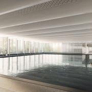So soll das «neue» Hallenbad Blumenwies nach Sanierung und Erweiterung aussehen. (Illustration: Architekturbüro Andy Senn)