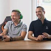 «Senior E-Sports»-Botschafter Daniel Gygax und Liga-Gründer René Merkli.Bild: Nadia Schärli (Meggen, 29. August 2019)