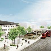 Der Bahnhofplatz mit Bushof soll grundsätzlich umgestaltet werden. Mit der Annahme des Teilzonenplans ist ein wichtiger erster Schritt getan. (Visualisierung: PD)