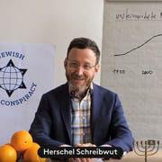 Autor Thomas Meyer in seinem «Bekennervideo» - in dem er als «Agent» Herschel Schreibwut seine Mission erklärt. (Screenshot: youtube)