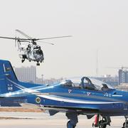 Eine PC-21 auf einem Luftwaffenstützpunkt in der saudischen Hauptstadt Riad. (Bild: Fayez Nureldine/AFP, Riad, 25. Januar 2017)