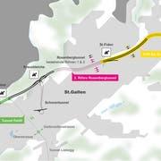 Vom Sitterviadukt soll der Tunnel Feldli (grün) gebaut werden. Beim Güterbahnhof-Areal gibt es via unterirdischen Kreisel einen Zubringer in die Stadt oder weiter bis in die Liebegg an die Stadtgrenze zu Teufen. (Visualisierung: Astra)