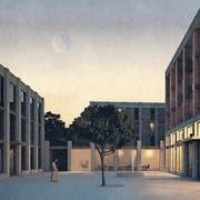 Blick in den Hof des Bauprojekts «Im Grund», das die Stadt und die Kirchgemeinde Willisau mit Privaten realisieren wollen. (Visualisierung: PD)