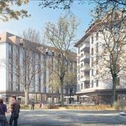 Die Himmelrich-Siedlung in der Luzerner Neustadt, die zurzeit im Bau ist: Hier verfügt nicht einmal jede zweite Wohnung über einen Parkplatz. (Visualisierung PD)
