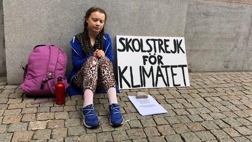 Greta Thunberg streikt vor dem schwedischen Regierungsgebäude im August 2018 (Bild: HO)