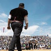 Kampfrichter am Schwingfest: immer wieder knifflige Aufgaben. (Bild: Peter Klaunzer/Keystone (Weissenstein, 20. Juli 2019)