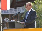 Gemeindepräsident Max Vögeli bei seiner Ansprache zur Eröffnung der Lehrerfortbildungskurse in Weinfelden. (Bild: PD)