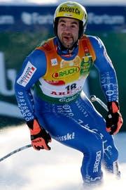 Schnupperte an einer Kombimedaille: Didier Défago. Bild: Alessandro Della Bella/Keystone (Åre, 6. Februar 2007)