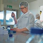 Hochdorf beschäftigt 666 Personen. Im Bild ein Labormitarbeiter bei der Qualitätskontrolle in Hochdorf. (Bild: Corinne Glanzmann, 5. April 2018)