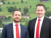 Claudio Schneeberger (links) wid neuer Leiter der NKB-Geschäftsstelle Buochs, Marco Röthlisberger wird neuer Stellvertreter. (Bild: PD)