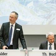 Jens Alder, Verwaltungsratspräsident und Delegierter des Verwaltungsrats, und CFO Thomas Bucher an der Alpiq-Bilanzmedienkonferenz in Olten am Freitag. (Bild: Alexandra Wey/Keystone)