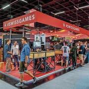Der Schweizer Stand im Businessbereich der Gamescom. Bild: Julia Malcher/Pro Helvetia (Köln, 21. August 2018)