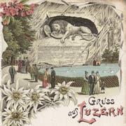 Blumen statt Blut für die Touristen: Das 1821 eingeweihte Löwendenkmal wurde bald zur Attraktion. (Bild: Postkarte der Gebrüder Metz, ca. 1896, ZHB Luzern Sondersammlung)