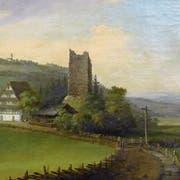 Caspar Wolf malt die Ruine der Burg Hünenberg und das «Burghaus» um zirka 1780. Wie seine anderen Werke, diente auch dieses Wolf-Gemälde als Vorlage für Druckerzeugnisse, wie die weiter unten im Text abgebildete kolorierte Radierung. (Bild: Murikultur)