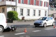 Auffahrunfall auf der Zürcher Strasse in Brugg mit einem Lieferwagen, einem Töff und einem Personenauto. (Bild: Stadtpolizei St.Gallen - 9. Mai 2019)