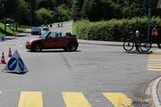 Die Unfallstelle auf der Verzweigung Rehetobel- und Tablatstrasse. (Bilder: Stadtpolizei St.Gallen - 23. Juni 2019)