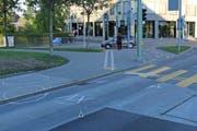 Die Stelle an der St.Leonhard-Strasse, an der am Montagabend ein Fussgänger vor einen Linienbus geriet. (Bild: Stadtpolizei St.Gallen - 24. September 2018)