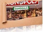 Gerade richtig zum Weihnachtsgeschäft erscheint Ende November die regionalisierte Stadtsanktgaller Monopoly-Version. Das Pressebild lässt erahnen, wie das Bild auf der Schachtel des Spiels aussehen wird. (Bild: PD)