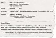 Ende 2017 schrieb Trumps Rechtsberater eine Ausnahmegenehmigung für Ed McMullen: Sonst hätte dieser als Botschafter in der Schweiz keine Werbung für Boeing-Kampfjets machen dürfen.