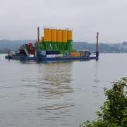 Das Ponton vor dem Werftgelände: Zurzeit wird alles eingerichtet (Bild: PD)