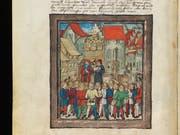Der Weinmarkt mit Brunnen in der «Luzerner Chronik» von 1513.